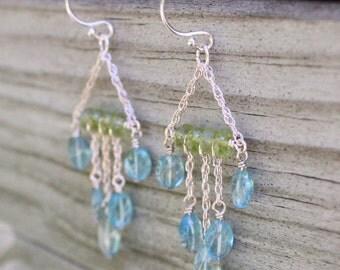 Peridot & Apatite Silver Chandelier Earrings
