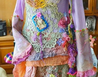 off Art To Wear dress Bohemian Gypsy dress  Upcycled dress mori girl dress tattered hand dyed dress
