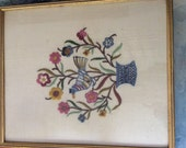 Colorful Floral Framed Swedish Style Needlepoint