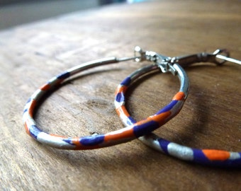 hand painted hoops in purple,silver and orange