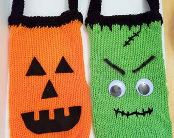 Halloween Trick-or-Treat Bags - Jack O'lantern or Frankenstein, loom knit with crochet edging