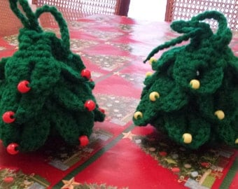 Christmas Tree Goody Bags - Handmade Crochet