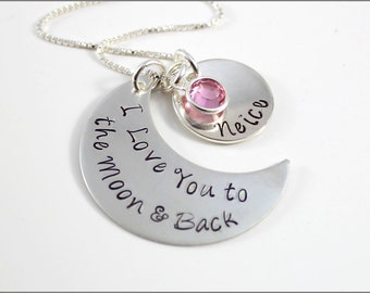 Moon Shape I Love You to the Moon & Back Necklace with Name Pendant | Personalized Hand Stamped Jewelry