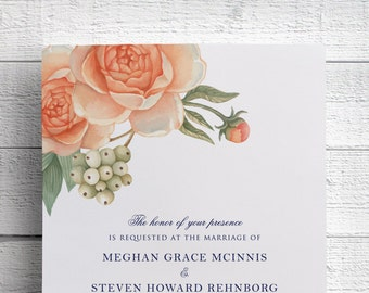 Peony Wedding Invitation, Peach Flower, Peach Floral, Garden Wedding, Outdoor Wedding, Coral Wedding, Peach and Navy, Wedding Invite