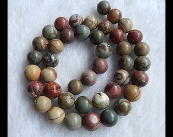 Multi-Color Picasso Jasper Loose Bead,1Strand,42cm In the Lenght,10mm,56.70g