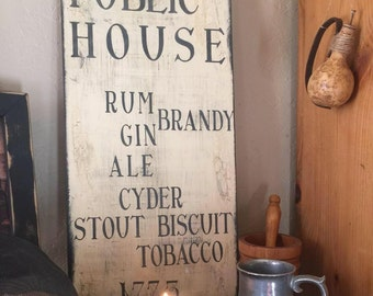 Publick House Tavern Menu Colonial sign board Tavern sign Trade sign Colonial tavern menu