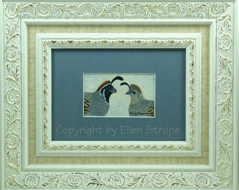 FRAMED Print, Gambel's Quail, Birds, Bird decor, Quail decor, Giclee' Print, Ellen Strope, Home decor, Prints