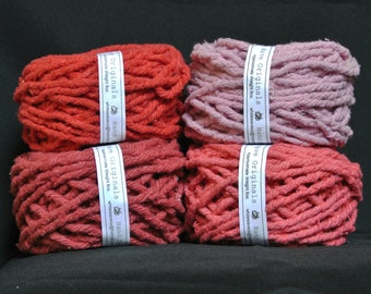 Hand dyed cotton Rug Yarn: Red, Bubblegum, Lipstick Red or Melon