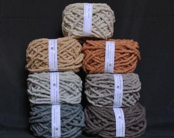 Hand dyed cotton Rug Yarn Colors: Ecru, Brown, Mushroom, Gray or Silver