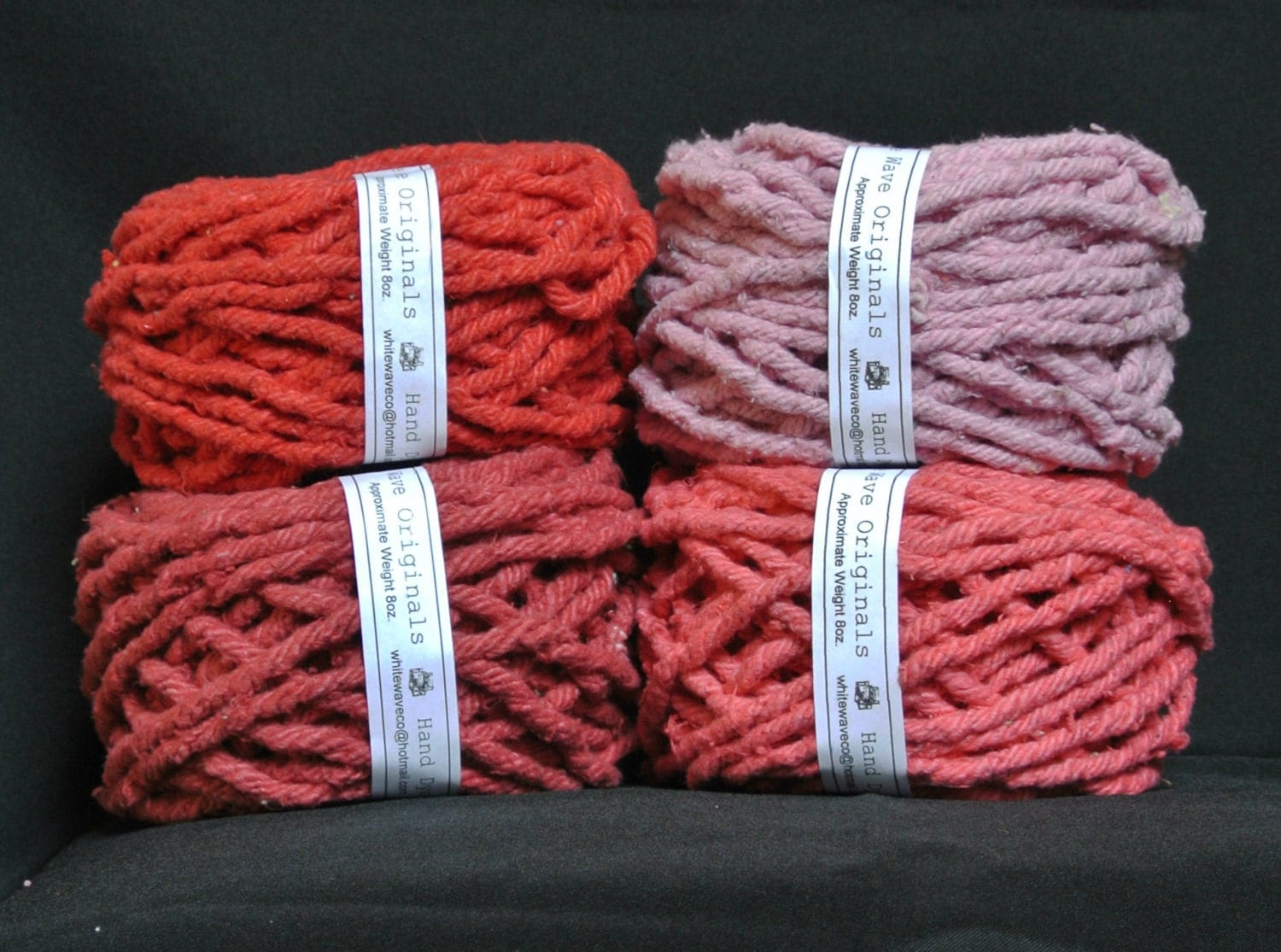 Hand Dyed Cotton Rug Yarn Red Bubblegum Lipstick Red Or