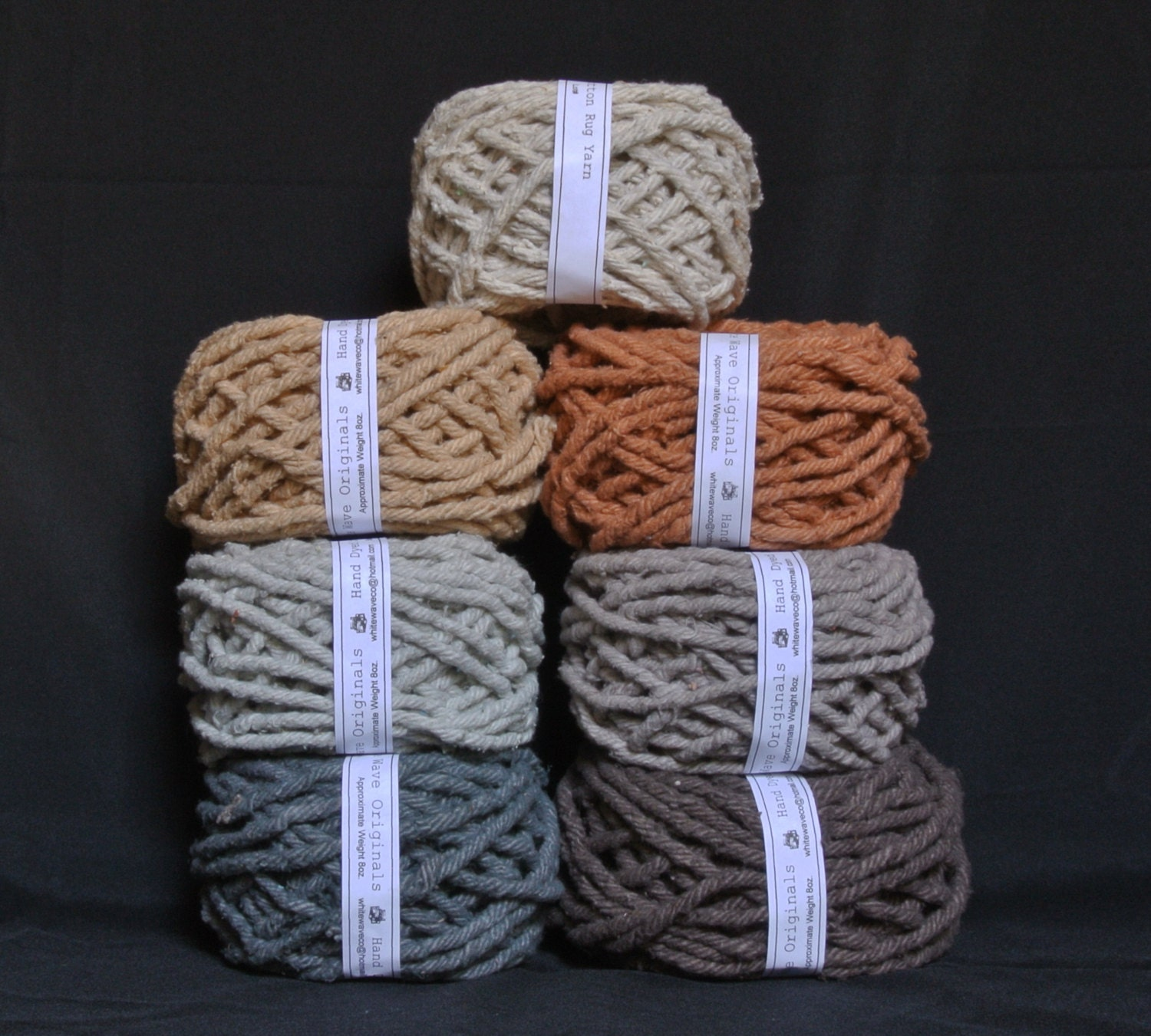 Hand Dyed Cotton Rug Yarn Colors Ecru Brown Mushroom Gray