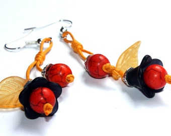 Morning Glory Earrings - gift ideas, for her, for woman, friend, girlfriend, niece, daughter, trend, orange, black