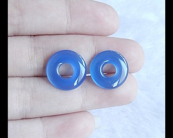 Blue Agate Cabochon Pair,14x3mm,1.96g