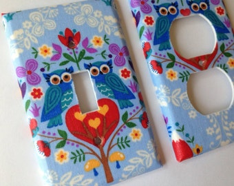 Owl Single Light Switch Plate Cover / Owl Nursery Decor / Hoot Owl Decor / Blue Owls / Bedroom Decor / Bathroom Decor / Switchplate Cover