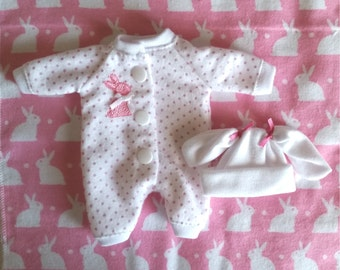 """4 Pc Pink Bunny Sleeper Set. You pick size, 5""""-6"""", 6""""-7"""", 7""""-8"""", 8""""-9"""", 9""""-10"""" or 11""""-12""""Mini Doll Clothes"""