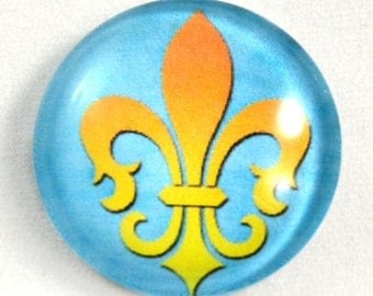 Fleur de Lis Cabochon, Blue Cabochon, Glass Cabochon, 25mm Cabochon, 1 inch Cabochon, Jewelry Making, Pendant Making, Jewelry Supply, French