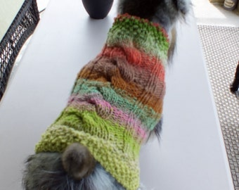 Dog Coat Hand Knit NORO Cable CoCo Small 12.5 inches long Noro Merino Wool