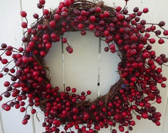 Berry Wreath   Autumn Wreath  Fall Wreath  Home Decor  Front Door Wreath  Red Berry Wreath  Elegant Wreath  Festive Wreath