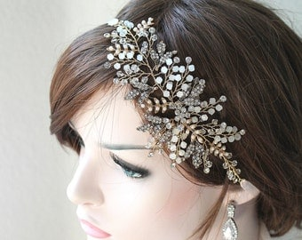 Gold Leaf Vine Opal Pearl Bridal Headpiece. Antique Gold Ethereal Delicate Swarovski Crystal Boho Wedding Headband. Bridal Hair Comb.ELSA