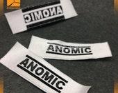 300 satin labels, silk label, woven label custom, satin woven labels, satin woven tags