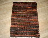 Handwoven rag rug - 1.78' x  2.63'- Dark brown, orange