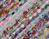 Handwoven rag rug - 2.79' x  4.47'-  blue style confety