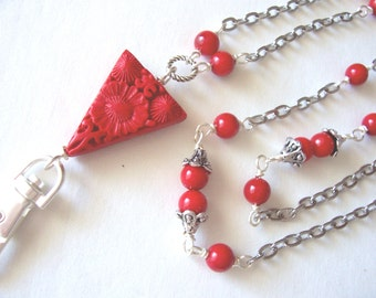 red lanyard, red coral beaded lanyard, ID badge holder, sale, ID necklace, ID chain, spring 2016 fashion trends, office fashion,  gift idea