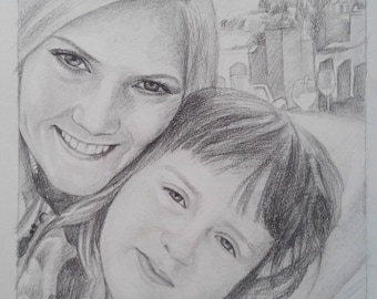 "Custom Pencil Sketch Portrait  from Photo- 16""X12""  (Christmas Gift)"