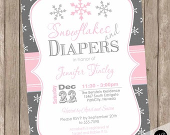Girls Snowflakes and Diapers baby shower invitation, winter baby shower, snowflake, gray and pink, girls winter, printable invitation