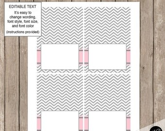 Pink and Gray - Editable Table Label / Buffet Label / Place card   INSTANT  pe1