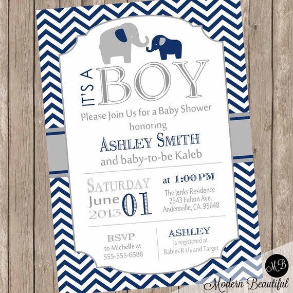Boy Elephant Baby Shower Invitation Navy and Gray Chevron