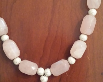 Rose Quartz Necklace with Sterling Silver Beads
