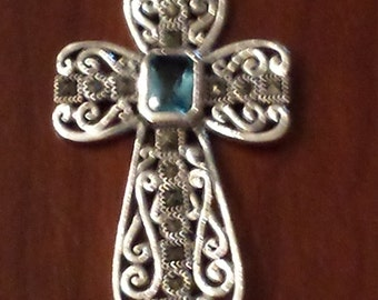 Sale...Sterling Silver Cross with Marcasite Pendant...FREE SHIPPING