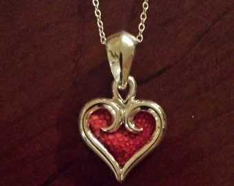 Sterling Silver and Red Sting Ray Leather Heart...FREE SHIPPING