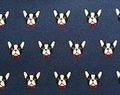 French bulldog printed cute dark blue colour fabric half yard
