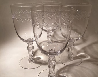 4 Wine or Water Glasses  - Fostoria Holly