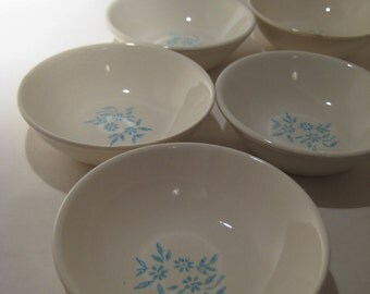 5 small White Bowls with Blue Flowers