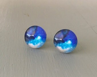 Galaxy Earrings, gorgeous, bright blue on Titanium Posts