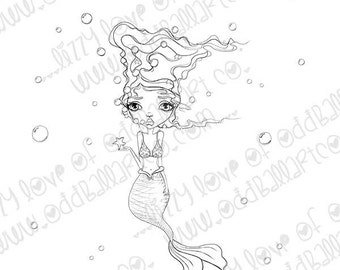 INSTANT DOWNLOAD Whimsical Big Eye Mermaid Digital Stamp - Molly the Mischievous Mermaid Image No.319 by Lizzy Love