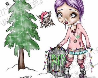 Christmas Kawaii Fine Art Giclee Print From My Original Painting Titled Fran Tick & Dave Prepare for Holiday IMG#163 by Lizzy Love