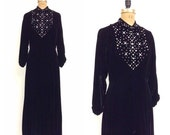 SALE 1970s Black Velvet Rhinestone Dress 70s