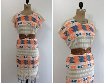 1970s Tribal Cotton Knit Dress 70s Fringe Boho Hippy Dress