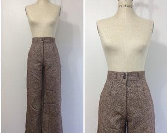1970s Tweed High Waisted Pants 70s Wide Leg