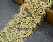"6 yard(2pcs) 8cm 3.14"" wide yellow eyelash lace trim ribbon L22K232 free ship"