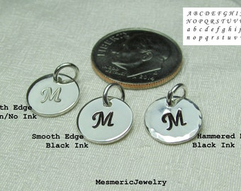"""Personalized Initial Charm - Small Hand Stamped Charm - Sterling Silver 3/8"""" Disc with Letter or Design - Add to Monogram Necklace"""