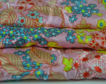 Vintage Pink Floral Fabric 1 yard
