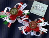 Layered Peppermint Lollipop Pigtail Bow Set-No Slip Hair Clip Set-Holiday-Ribbon Sculpture