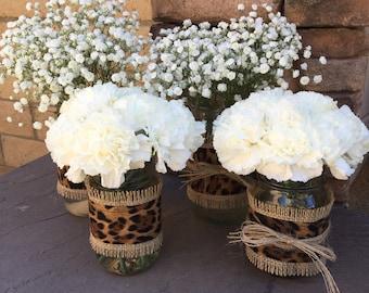 Mason Jar Wrap, Leopard Print, Safari Animal Zoo, Mason Jar Decoration, Baby Shower, Party, Wedding Decoration