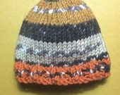 Newborn beanie | Autumn colors knit baby hat | one of a kind infant beanie | gender neutral | stretchy soft chunky knit hat | halloween baby