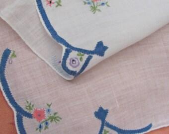 Vintage Solid White Blue Floral Applique Hankie